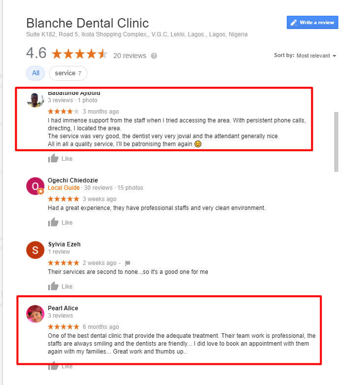 relevant reviews of blanche dental clinic